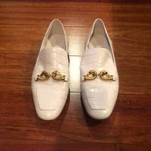 TORY BURCH White Leather Loafers